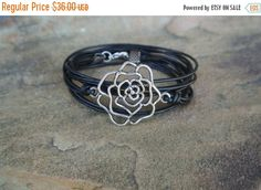 30% OFF SALE Rose Leather Pewter Wrap Bracelet by justhipstuff