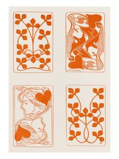 Henri Meunier playing cards | Art Nouveau Style Playing Card Designs by Henri Meunier Giclee Print ...