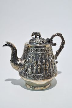 Antique 19th-20th C Anglo-Indian Export Silver Colonial Elephant Teapot Marked