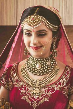 Indian Wedding Jewelry – Polki Jewelry   WedMeGood   Polki, Ruby and Pearl Matha Patti with a Polki Choker Necklace and a Polki Haar