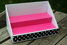 Cardboard Display - White with Pink Salmon Insert - Polka Dot Design