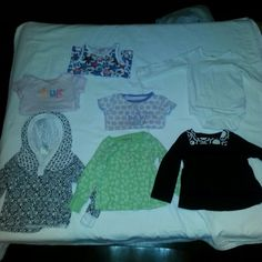 Baby Girl Tops Baby Girl 18months shirts 2 thermal long sleeves / 1 black and white shirt/ 1 white body suit long sleeve / 2 short sleeve shirt/ 1 tank ** Mothers tip purchases before baby turns 18months to ensure room to grow ** ^^ some items have higher sizes in bundle due to shrinkage in dryer ^^ Tops