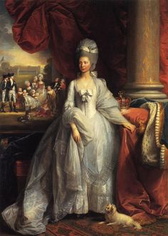 1779 Queen Charlotte by Benjamin West (Royal Collection)  Queen Charlotte poses while her small army of children (she bore 15 of whom two died in childhood) plays in the background in this 119 West work.