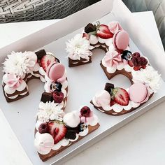 7 Popular Wedding Trends For 2019 According To Pinterest | Number-shaped cakes | If celebrating anniversaries are important to you, you'll be smitten with this clever wedding cake design that comes in the shape of – you guessed it – numbers. We love how intricate and detailed these cakes look, and think it'll make an unconventional way to symbolise the date that you and your fiancé are officially wed! Beautiful Cakes, Amazing Cakes, Cake Cookies, Cupcake Cakes, Fruit Cupcakes, Fancy Cake, Just Desserts, Dessert Recipes, Dutch Desserts
