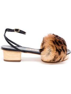 Liudmila Mahjong Fur Sandals - Browns - Farfetch.com
