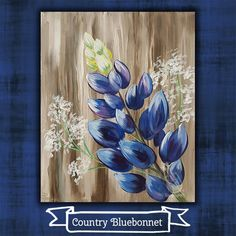 "I just loved this painting when I saw it. Come paint the very simple and pretty ""Country Bluebonnet"" with us next Wed, June Looks like art, feels like fun! Join us at Painting with a Twist – Indy! ©Painting with a Twist. Canvas Art Projects, Painting & Drawing, Painting Canvas, Easy Paintings, Learn To Paint, Pictures To Paint, Painting Inspiration, Diy Art, Flower Art"