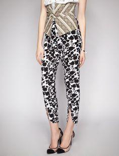 Black floral print pants with high waist batik attached waist panel
