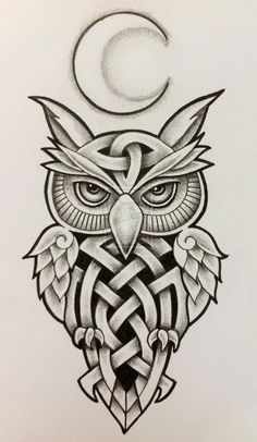 Celtic Owl and Moon by Tattoo-Design.deviantart.com on @deviantART... ive been thinking about getting an owl on my calf but I want it to look fierce but colorful. I might change my mind for this though: