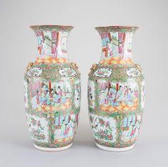 Par de vasos em porcelana Chinesa de Cantao do sec.19th, 47cm de altura, 3,985 USD / 3,620 EUROS / 14,955 REAIS / 25,970 CHINESE YUAN soulcariocantiques.tictail.com
