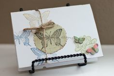 Butterfly Thank You Card, Vintage Card - 4 x 5.5 inch card in white. $6.00, via Etsy.