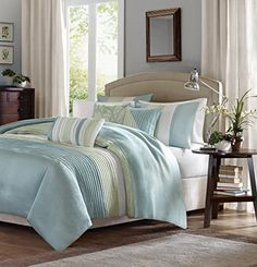 #manythings Carter's modern color blocked design is a simple way to add style to your room. This duvet #cover is covered in larges stripes in shades of green and...
