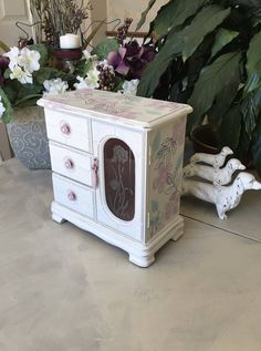 Vintage Upcycled Jewelry Box / Shabby Chic Painted Wooden Jewelry Organizer / OOAK Wooden Jewelry Storage Box/ Womens Gifts by ByeByBirdieDesigns on Etsy https://www.etsy.com/listing/596854841/vintage-upcycled-jewelry-box-shabby-chic