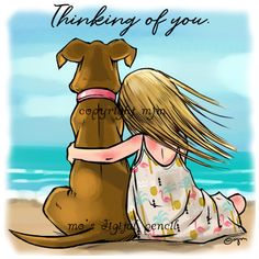 Thinking of You (Digital Pencil Too) I Love Dogs, Cute Dogs, Animals And Pets, Cute Animals, Dog Illustration, Pet Loss, Girl And Dog, Dog Quotes, Dog Names