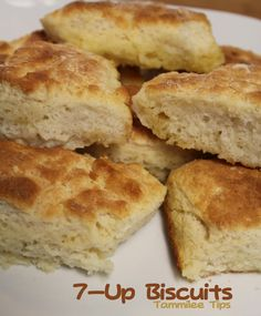 7-Up Biscuits Recipe!  So easy to make and tasted amazing! 7 Up Biscuits  4 cups Bisquick 1 cup sour cream 1 cup 7-up 1/2 cup melted butter  Mix bisquick, sour cream and 7 up. Melt butter in bottom of cookie sheet pan, and put shaped biscuits in, then Bake at 425 until golden