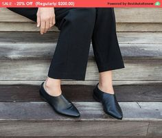 Black leather Shoes for women A sexy clean cut. Back zip closure. Winter SALE! Regular price:200$  ***** FREE EXPRESS SHIPPING for new winter