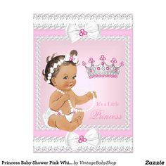 Princess Baby Shower Pink White Pearls Bows Br 5x7 Paper Invitation Card
