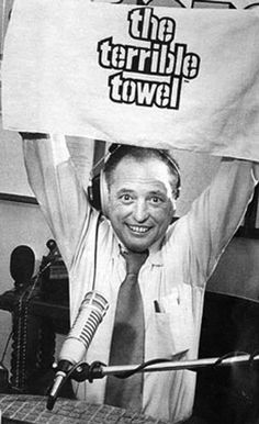 """""""OTD Steeler Nation lost their voice of 35 years as Myron Cope, National Radio Hall of Famer passed. Cope and quarterback Terry Bradshaw both made their Steeler debuts on Sept Standing only Myron towered over other announcers. Steelers Pics, Here We Go Steelers, Pittsburgh Steelers Football, Pittsburgh Sports, University Of Pittsburgh, Best Football Team, Steelers Stuff, Pittsburgh Penguins, Dallas Cowboys"""