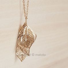 Gold Filigree Leaves Gold Necklace