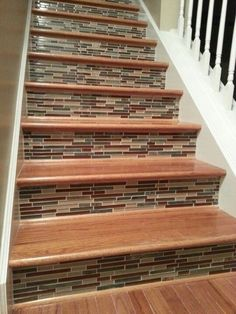 Tile Stairs Tile On Stair Risers Wisdom Different Tile But This Is The General Idea Mosaic Tile Stairway San Francisco Tile Stair Nosing Schluter Tile Stairs, Wooden Stairs, Basement Stairs, House Stairs, Hardwood Stairs, Mosaic Stairs, Paint Stairs, Basement Ideas, Mosaic Tiles