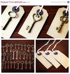 ON SALE Keys to Happiness - 100 Antique Bronze Skeleton Keys & 100 Kraft Luggage Tags - Wedding Skeleton Keys, Escort Card Vintage Keys on Etsy, $45.00