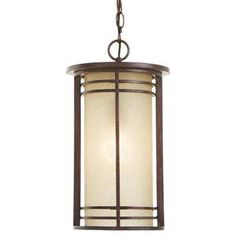 1-Light Bronze Outdoor Pendant with Amber Glass