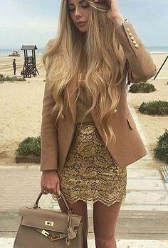 #winter #fashion /  Camel Blazer // Gold Skirt // Leather Tote Bag