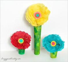 Tissue Paper Flower Craft for Kids (w/ a paper towel roll stem)~ BuggyandBuddy.com