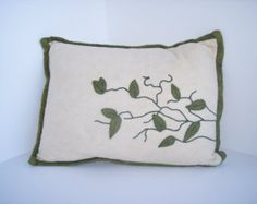 Felted Wool vine embroidered Decorative Pillow, Throw Pillow, Toss Pillow, Accent Pillow, cushion pillow, home decor, interior design - Edit Listing - Etsy