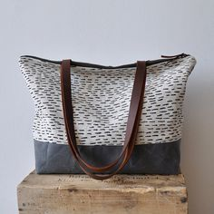 ZIP TOTE  rain/waxed by bookhouathome on Etsy, $85.00