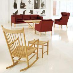 Wegner J16 Rocking Chair  $1,904 danishdesignstore.  42 h | 36.5 d | 25 w | seat: 16.5 h  Rope woven seat.