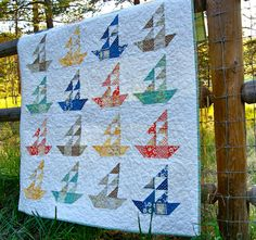 bunnyhill sailboats | Quilt Baby Lap Handmade Seaside Sailboats Riley Blake Summer Children ...