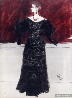 Eric (Carl Erickson) 1955 Jacques Fath Evening Gown Fashion Illustration
