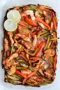 OVEN ROASTED FAJITAS My Reviews: so easy and yummy I marinate them in a large ziplock bag so I move around the olive oil and taco seasoning all over then I pour onto a cookie sheet. Make sure you spread them out even if you have to use more than one cookie sheet so everything can really roast.