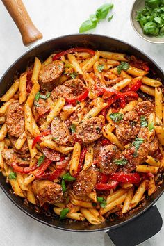 Pasta Skillet Sausage Pasta Skillet — A quick and easy skillet meal with incredible flavor, perfect for weeknight dinners with family.Sausage Pasta Skillet — A quick and easy skillet meal with incredible flavor, perfect for weeknight dinners with family. Beef Recipes, Chicken Recipes, Cooking Recipes, Healthy Recipes, Sausage Pasta Recipes, Italian Sausage Pasta, Sausage And Peppers Pasta, Sausage Meals, Meals With Sausages