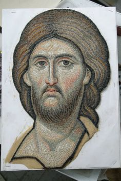Byzantine art mosaic of Jesus Christ. Religious Pictures, Religious Icons, Religious Art, Byzantine Icons, Byzantine Art, Christ Pantocrator, Greek Mythology Art, Mosaic Portrait, Art Icon