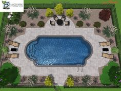 roman shaped inground pools - this is exactly how my pool is shaped. I love the landscape design. Swimming Pool Landscaping, Swimming Pool Designs, Landscaping Ideas, Landscaping Company, Patio Ideas, Backyard Landscaping, Landscaping Software, Backyard Ideas, Landscaping Around Pool