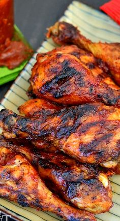 Chipotle Honey BBQ Chicken - Love the sweet and spicy combination in this delish grilled chicken recipe. Honey Barbeque Chicken, Honey Bbq, Barbeque Sauce, Chipotle Chicken, Spicy Honey, Honey Chicken, Chicken Legs, Butter Chicken, Grilling Recipes