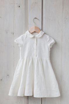 White Linen Dress Kids Fashion Hand Made Children by SondeflorShop
