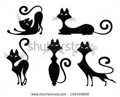 Set of various black cat silhouettes. Sitting cat, lying cat, two stretching cats and one cat with round back. Cool for Halloween designs a...