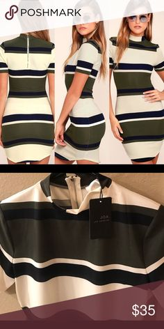 J.O.A Character Study Striped Dress Olive Green , Navy Blue  and Cream Bodycon J.O.A Striped Dress. Size Medium. NWT. Mock Neck, Short Sleeves and Exposed Back Silver Zipper. Unlined. 95% Polyester, 5% Spandex. Runs Small. I normally wear a small and this medium fit everywhere except my arms. J.O.A. Dresses Mini