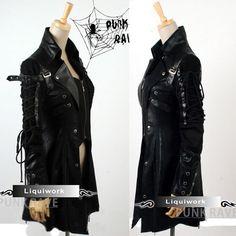 Rock Fashion Clothing for Women   Black Emo Goth Punk Rock Fashion Clothing Trench Coats Jackets SKU ...