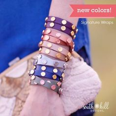 New South Hill Designs Wrist Wrap Colors! Locket Bracelet, Bar Necklace, South Hill Designs, Jewelry Companies, Personalized Jewelry, Gifts For Her, Wraps, Jewelry Design, Wrap Bracelets