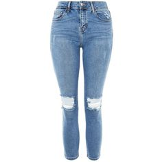 TopShop Petite Rip Jamie Jeans ($75) ❤ liked on Polyvore featuring jeans, mid stone, stretch skinny jeans, skinny jeans, ripped jeans, high waisted jeans and distressed skinny jeans