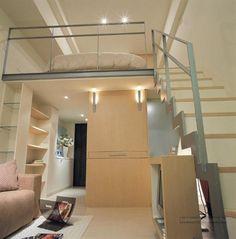 Small Space Design: A 498 square feet house in Taiwan. ideas for a loft Small Space Bedroom, Small Space Living, Small Rooms, Small Apartments, Small Spaces, Condominium Interior, Mezzanine Bedroom, Casa Clean, Latest House Designs