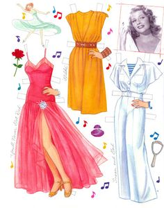 Rita Hayworth | Gabi's Paper Dolls* The International Paper Doll Society by Arielle Gabriel for all paper doll and paper toy lovers. Mattel, DIsney, Betsy McCall, etc. Join me at ArtrA, #QuanYin5 Linked In QuanYin5 YouTube QuanYin5!