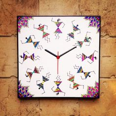 Online Shopping for Colourful Handmade Hand Painted War | Clocks | Unique Indian Products by Maddie's Fingers, The Arty Ones - MMADD51168401780