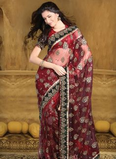 Designer Net Sarees With Embroidered Border, Net With Work Will Make You Look Completely Different And Focus@ http://www.shadesandyou.com/product-category/regular-sarees/  #BridalSaree #DesignerBridalSarees #SareesOnline #PartyWearSarees #WeddingSaree