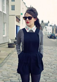 navy pinafore playsuit on stripes and floral collar.