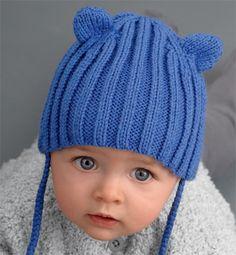 Modèle bonnet bébé bleu , Modèles tricot layette , Phildar