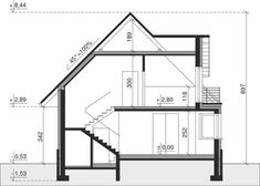 Przekrój Dom przy Sielskiej 3 CE 1 Story House, Best House Plans, Good House, Home Design Plans, Floor Plans, Villa, House Design, How To Plan, Home Decor